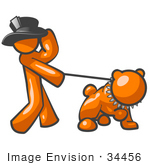 #34456 Clip Art Graphic Of An Orange Guy Character Holding Onto His Hat And Walking His Strong Bulldog