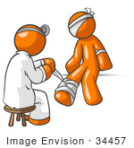 #34457 Clip Art Graphic Of An Orange Guy Character Getting His Injuries Bandaged By A Doctor