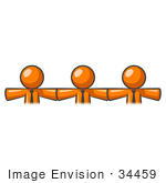 #34459 Clip Art Graphic Of Orange Guy Characters Linking Together And Holding Hands