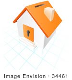 #34461 Clip Art Graphic of an orange and white home with a coin slot roof and keyhole dor, on top of a grid by Jester Arts