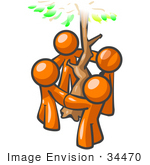 #34470 Clip Art Graphic Of Orange Guy Characters Holding Hands And Circling A Tree