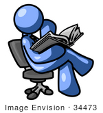 #34473 Clip Art Graphic Of A Blue Guy Character Sitting In A Chair And Reading