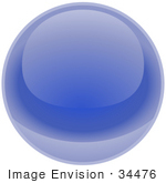 #34476 Clip Art Graphic Of A Blue Shiny Globe Reflecting Light