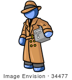 #34477 Clip Art Graphic Of A Blue Guy Character Detective Carrying A Box