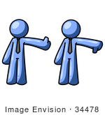 #34478 Clip Art Graphic Of A Blue Guy Character Giving The Thumbs Up And Thumbs Down