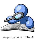 #34480 Clip Art Graphic of a Blue Guy Character Researching A Book With A Magnifying Glass by Jester Arts
