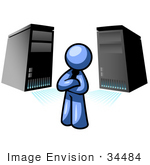 #34484 Clip Art Graphic Of A Blue Guy Character Standing In Front Of Server Towers
