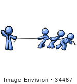 #34487 Clip Art Graphic of a Blue Guy Character Waving While Holding One End Of A Rope And Competing In A Tug Of War Contest With Three Other People by Jester Arts