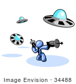 #34488 Clip Art Graphic Of A Blue Guy Character In A Business Tie Kneeling And Shooting Laser Guns At Attacking Ufos