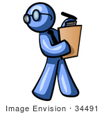 #34491 Clip Art Graphic Of A Blue Guy Character Wearing Spectacles And A Business Tie And Carrying A Pen And Clipboard While Reviewing Workers