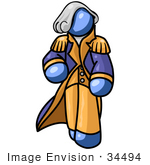 #34494 Clip Art Graphic Of A Blue Guy Character Wearing A George Washington Costume And Wig