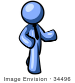 #34496 Clip Art Graphic of a Blue Guy Character Wearing A Business Tie And Pointing by Jester Arts