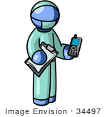 #34497 Clip Art Graphic of a Blue Guy Character Doctor Holding A Cell Phone And Clipboard by Jester Arts