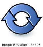 #34498 Clip Art Graphic Of Blue Refresh Arrows For A Web Browser