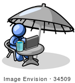 #34509 Clip Art Graphic of a Blue Guy Character Drinking A Beverage And Using A Laptop While Traveling by Jester Arts