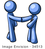 #34513 Clip Art Graphic Of A Blue Guy Character Shaking Hands With A Client