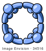 #34516 Clip Art Graphic Of Blue Guy Characters Holding Hands And Standing In A Circle