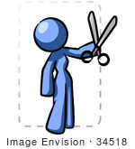 #34518 Clip Art Graphic Of A Blue Woman Character Cutting Out A Coupon