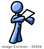 #34528 Clip Art Graphic of a Blue Guy Character Standing And Reading A Memo by Jester Arts