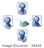 #34532 Clip Art Graphic Of Blue Guy Characters In Four Poses Holding A Meeting With Headsets