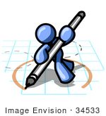 #34533 Clip Art Graphic Of A Blue Guy Character On Graph Paper Drawing A Circle