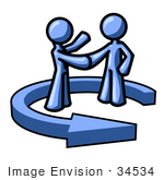 #34534 Clip Art Graphic Of A Blue Guy Character Shaking Hands With A Client In The Center Of An Arrow
