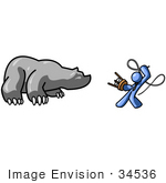 #34536 Clip Art Graphic Of A Blue Guy Character Fighting A Bear With A Stool And Whip
