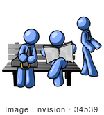 #34539 Clip Art Graphic Of Blue Guy Characters Waiting At A Bus Stop Bench Standing Reading A Newspaper And Sitting