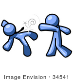 #34541 Clip Art Graphic of a Blue Guy Character Socking His Colleague by Jester Arts