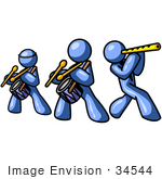 #34544 Clip Art Graphic Of Blue Guy Characters Playing Drums And Flutes In A Band by Jester Arts