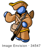 #34547 Clip Art Graphic of a Blue Guy Character In Historical Clothing, Holding A Rifle And Pointing by Jester Arts