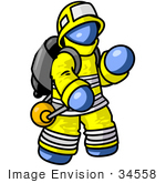 #34558 Clip Art Graphic Of A Blue Guy Character Fireman Waving
