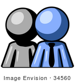 #34560 Clip Art Graphic Of A Blue Guy Character Standing In Front Of His Employee