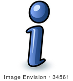 #34561 Clip Art Graphic of a Blue Information I by Jester Arts