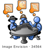 #34564 Clip Art Graphic Of Blue Guy Characters On Laptops At A Table