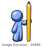 #34565 Clip Art Graphic of a Blue Guy Character Standing By A Pencil by Jester Arts