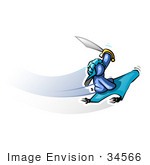 #34566 Clip Art Graphic Of A Blue Guy Character With A Sword On A Magic Carpet