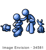 #34581 Clip Art Graphic Of A Blue Guy Character With His Family And Pets