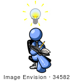 #34582 Clip Art Graphic of a Blue Guy Character Writing Ideas Down by Jester Arts