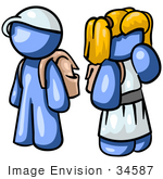 #34587 Clip Art Graphic of Blue Boy And Girl Characters by Jester Arts