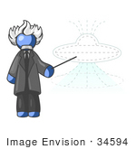 #34594 Clip Art Graphic Of A Blue Guy Character Of Albert Einstein Pointing To A Ufo