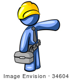 #34604 Clip Art Graphic Of A Blue Guy Character Construction Worker