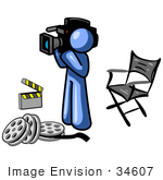 #34607 Clip Art Graphic of a Blue Guy Character With Film Reels, A Clapboard And Director's Chair, Filming A Movie by Jester Arts