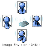#34611 Clip Art Graphic Of A Blue Guy Character In Four Poses Chatting On A Headset