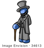 #34613 Clip Art Graphic Of A Blue Guy Character Dressed As Abraham Lincoln