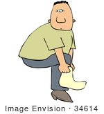 #34614 Clip Art Graphic Of A Caucasian Guy Lifting His Leg To Put A Sock On Or To Put A Cover Over His Shoe