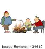 #34615 Clip Art Graphic Of A Caucasian Family With A Single Boy Child Roasting Marshmallows Over A Campfire
