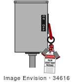 #34616 Clip Art Graphic Of A Folding Lockout Scissor Clamp Secured By Two Padlocks On A Machine Lockout/Tagout Procedures
