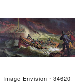 #34620 Stock Illustration Of People Hollering At Their Loved Ones On A Rescue Boat Survivors Of A Storm At Sea