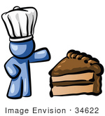 #34622 Clip Art Graphic Of A Blue Guy Character Wearing A Chefs Hat And Showing Off A Tasty Frosted Slice Of Chocolate Cake